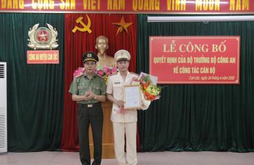 Bổ nhiệm Thiếu tá Đặng Văn Đức giữ chứcvụ Trưởng Công an huyện Can Lộc