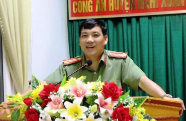 Đại tá Lê Khắc Thuyết, Giám đốc Công an tỉnh làm việc với công an huyện Nghi Xuân