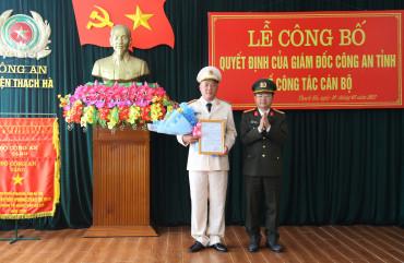 Công bố quyết định của Giám đốc Công an tỉnh về công tác cán bộ tại Công an huyện Thạch Hà