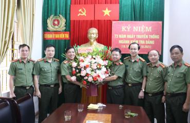 Lãnh đạo Công an tỉnh chúc mừng Ngày truyền thống Ngành kiểm tra Đảng